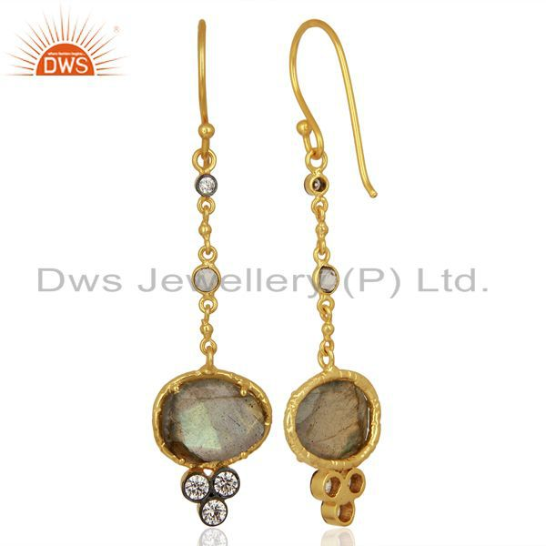 Suppliers Handmade Gold Plated CZ Natural Labradorite Gemstone Drop Earrings