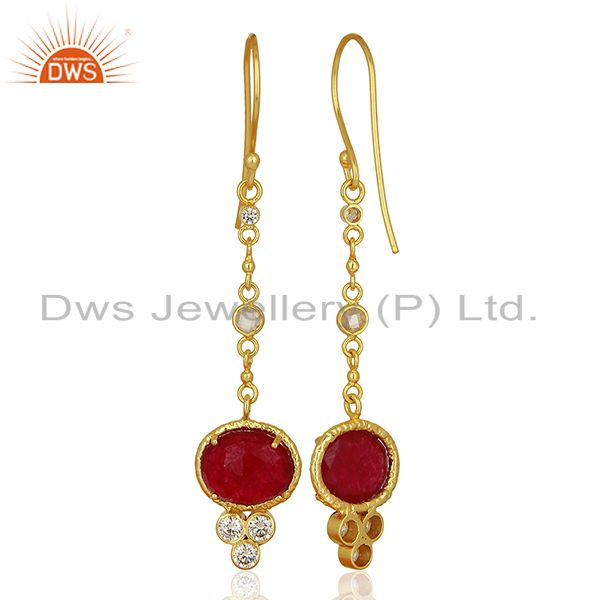 Suppliers CZ Red Aventurine Gemstone Gold Plated Brass Earrings Supplier