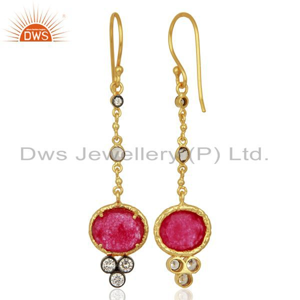 Suppliers Red Aventiurine Gemstone Gold Plated Fashion Earrings Manufacturer
