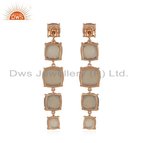 Suppliers Handmade 925 Silver Gold Plated Gray Chalcedony Gemstone Earrings Manufacturer