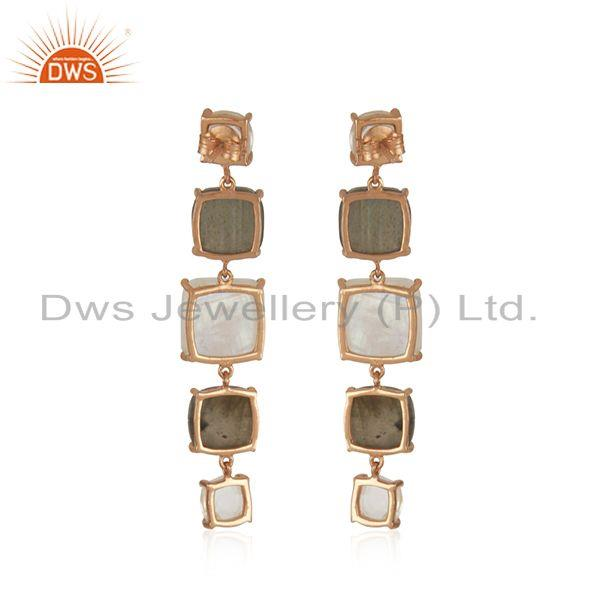 Suppliers 92.5 Sterling Silver Rose Gold Plated Multi Gemstone Earring Manufacturer India