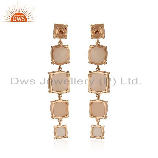 Suppliers Rose Chalcedony Gemstone 925 Silver Rose Gold Plated Earrings Suppliers India