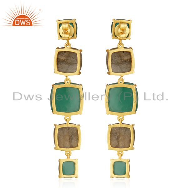 Suppliers Prong Setting Labradorite and Green Onyx Gemstone 925 Silver Gold Plated Earring