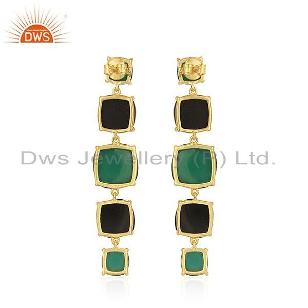 Suppliers Gold Plated 925 Silver Gold Plated Multi Gemstone Dangle Earrings Supplier India