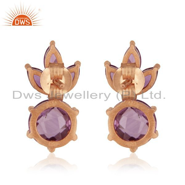 Suppliers Natural Amethyst Birthstone Rose Gold Plated 925 Silver Stud Earrings Wholesale