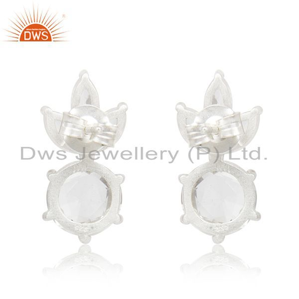 Suppliers Crystal Quartz Stone 92.5 Sterling Silver Stud Earrings Manufacturer India