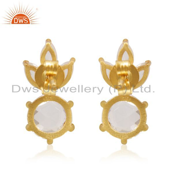 Suppliers Crystal Quartz Stone 92.5 Silver Gold Plated Handmade Stud Earrings Suppliers