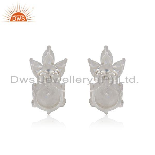 Suppliers Rainbow Moonstone Fine Sterling Silver Stud Earring Manufacturer in Jaipur