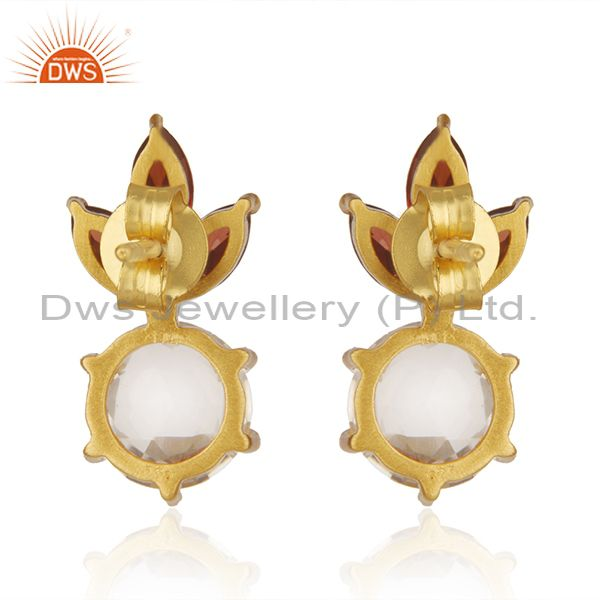 Suppliers Garnet and Crystal Quartz Gemstone 925 Silver Gold Plated Stud Earring Wholesale