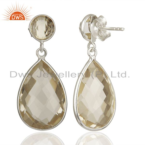 Suppliers 925 Fine Silver Crystal Quartz Earrings Gemstone Jewelry Manufacturer