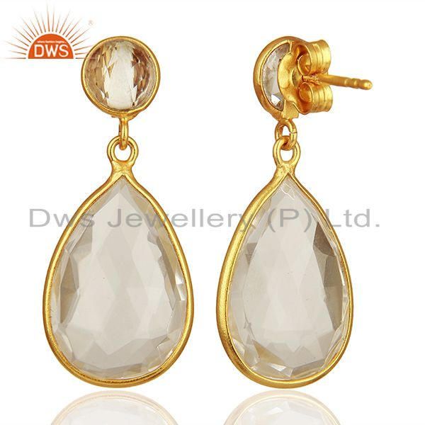 Suppliers Handmade 925 Silver Gold Plated Crystal Quartz Drop Earrings Supplier