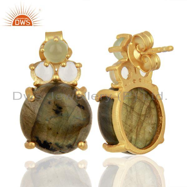 Suppliers Labradorite Prehnite Chalcedony Crystal Quartz  Gold Plated 925 Silver Earrings