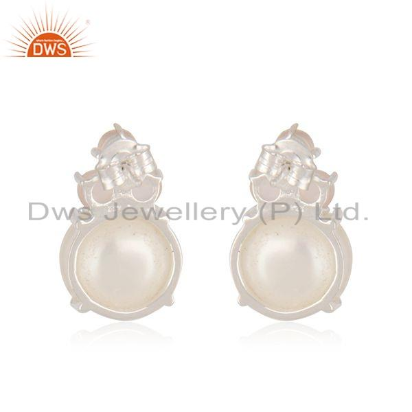 Suppliers Rose Chalcedony Pearl Gemstone 925 Silver Stud Earrings Jewelry