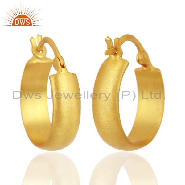 Suppliers 18K Yellow Gold Plated 925 Sterling Silver Handmade Design Hoop Earrings Jewelry