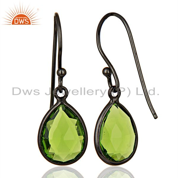 Suppliers Wholesale Glass Peridot Gemstone Black Rhodium Plated Silver Earrings