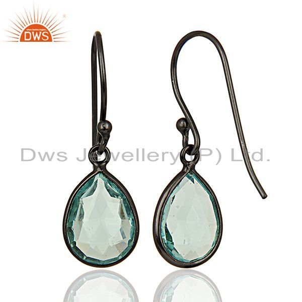 Suppliers Rhodium Plated 925 Silver Glass Blue Topaz Gemstone Earrings Supplier