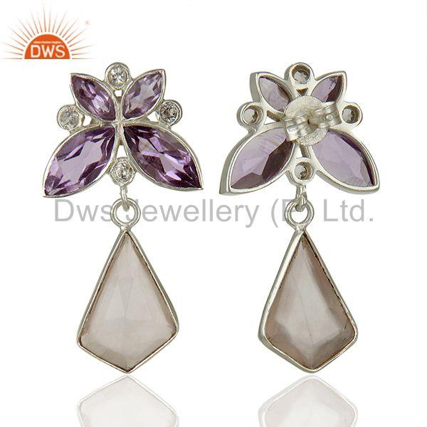 Suppliers Amethyst and Rose Quartz Gemstone 925 Sterling Silver Earrings Jewelry