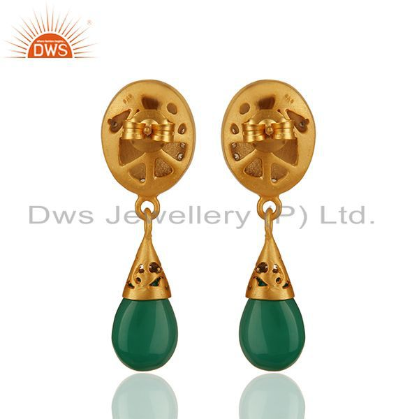 Suppliers Green Onyx and Zircon Gemstone 925 Silver Drop Earrings Manufacturer