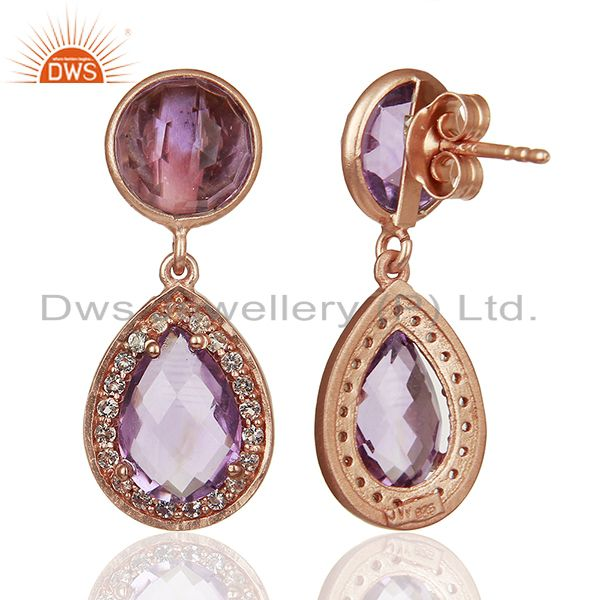 Suppliers Amethyst Gemstone and White Topaz 925 Silver Girls Earrings Jewelry
