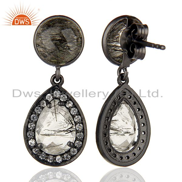 Suppliers White Topaz and Black Rutile Gemstone Silver Earrings Wholesale