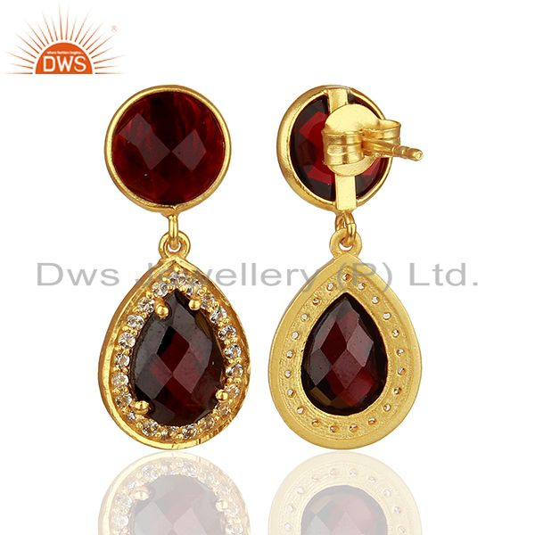 Suppliers White Topaz and Garnet Gemstone Earring Customized Jewelry Suppliers