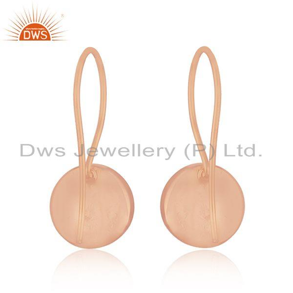 Suppliers Rose Gold Plated Sterling Silver Aqua Chalcedony Gemstone Earring