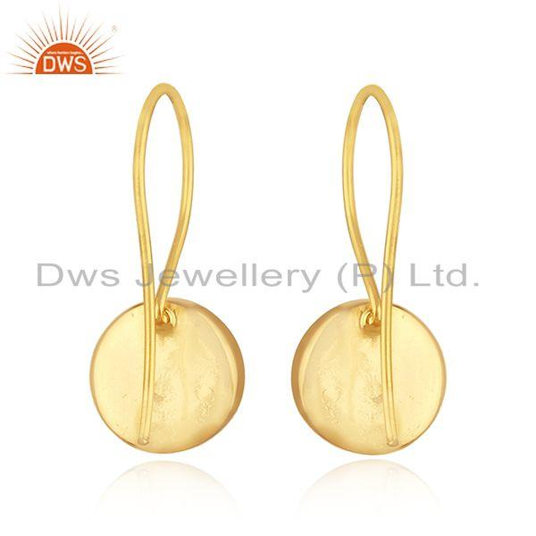 Suppliers Gold Plated 925 Silver Aqua Chalcedony Gemstone Earring Supplier