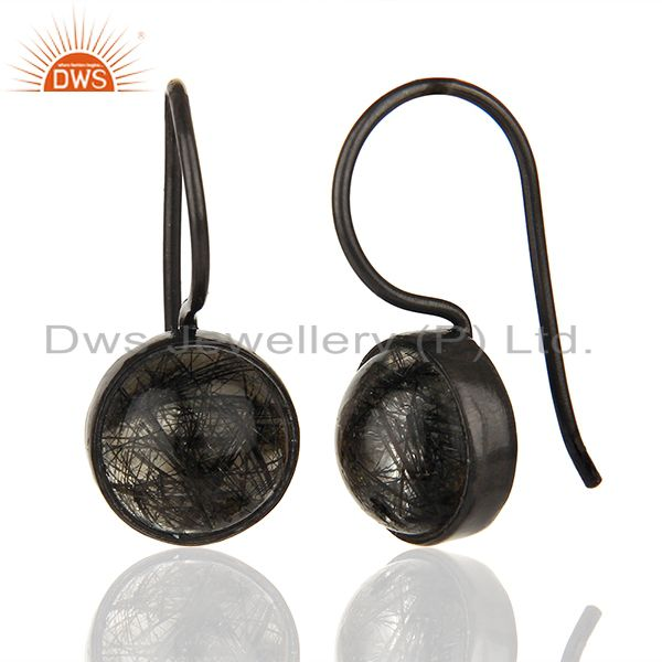 Suppliers Black Rutile and 925 Silver Girls Drop Earrings Wholesale Supplier