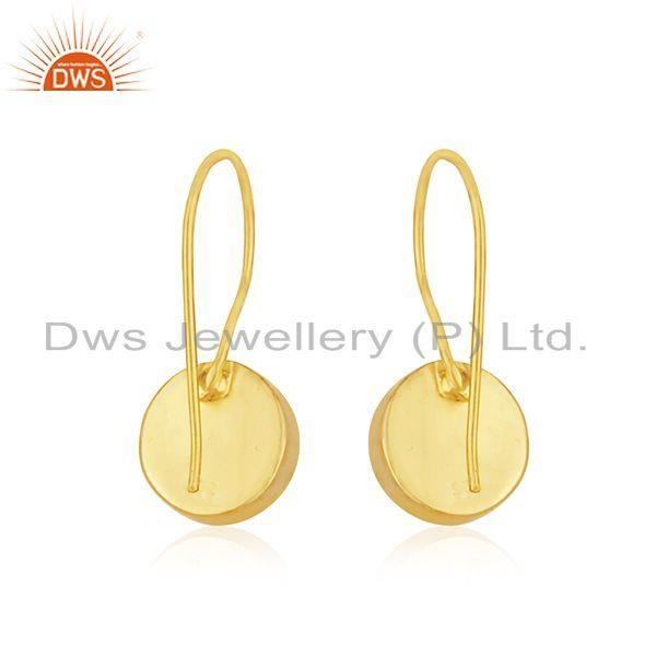 Suppliers Natural Rainbow Moonstone 18k Gold Plated 925 Silver Earrings Manufacturer India