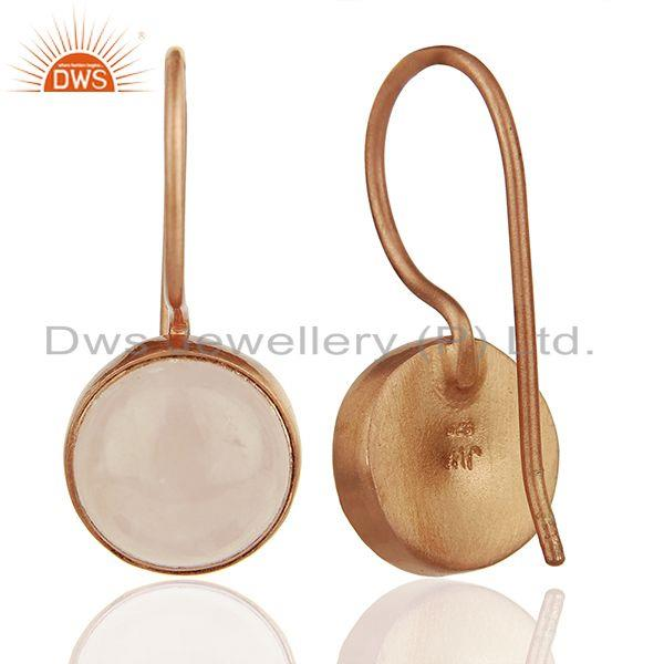 Suppliers Round Rose Quartz Gemstone 925 Silver Rose Gold Plated Earring Jewelry