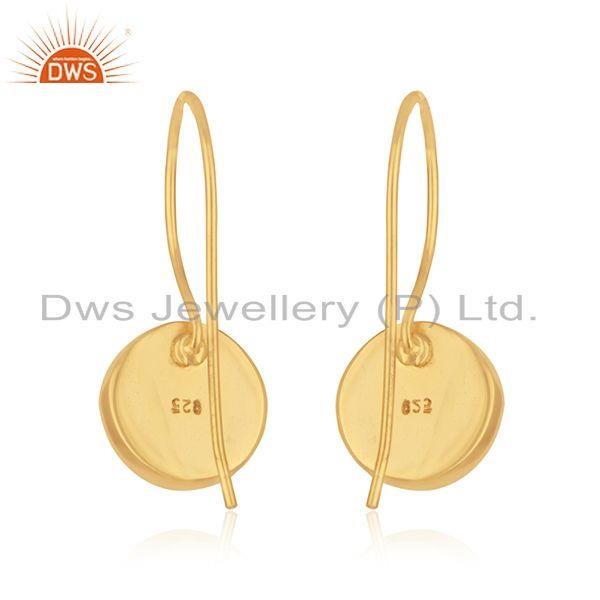 Suppliers Rose Quartz Gemstone 925 Silver Gold Plated Earrings Manufacturer India