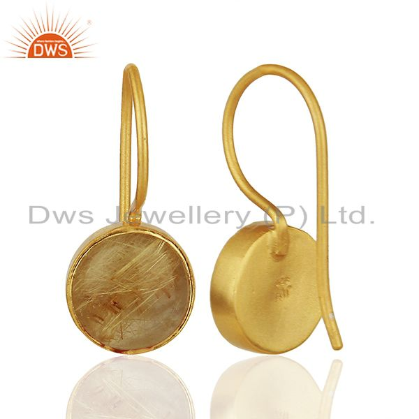 Suppliers Golden Rutile Gemstone Gold Plated 925 Silver Earring Wholesale