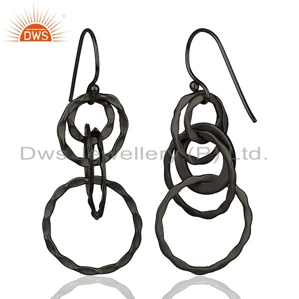 Suppliers Black Rhodium Plated 925 Silver Round Link Earrings Manufacturer