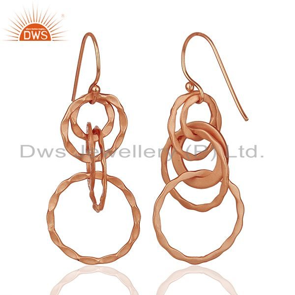 Suppliers Rose Gold Plated 925 Silver Hammered Earrings Jewelry Wholesale