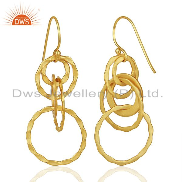Suppliers Hammered 925 Silver Gold Plated Dangle Earrings Jewelry Manufacturer