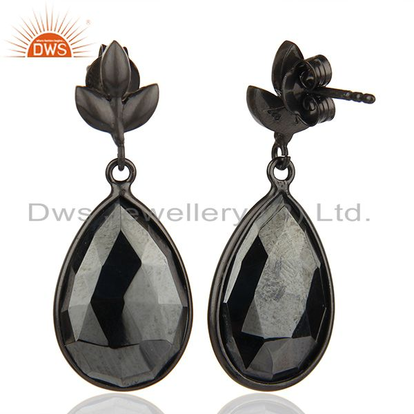 Suppliers Black Rhodium Plated 925 Silver Hematite Gemstone Earrings Jewelry