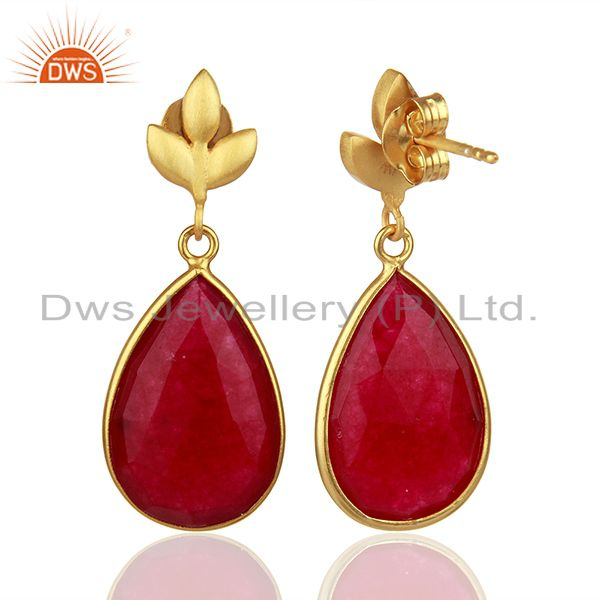 Suppliers Red Aventurine Gemstone 925 Silver Gold Plated Girls Earrings Jewelry