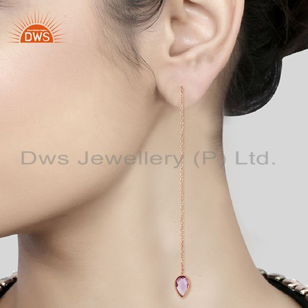 Suppliers Rose Gold Plated 925 Silver Amethyst Gemstone Chain Earrings Jewelry