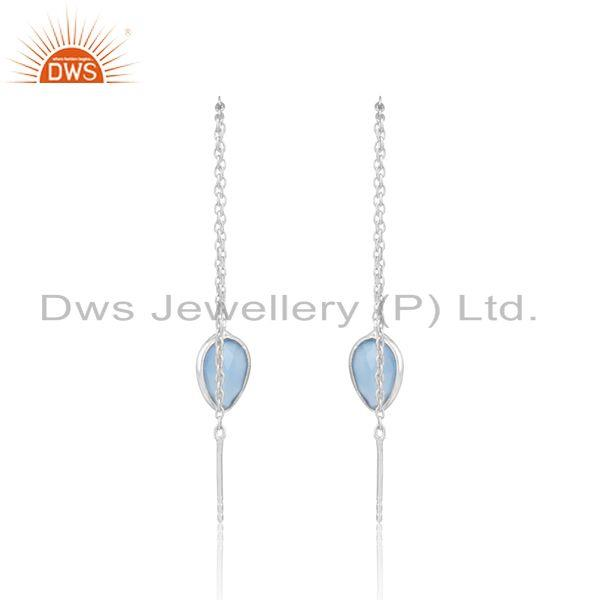 Designer of Designer dainty chain dangle in silver 925 with blue chalcedony