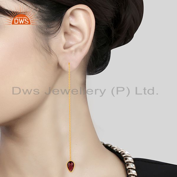Suppliers Natural Garnet Gemstone Solid 925 Silver Gold Plated Chain Earrings