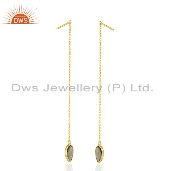Suppliers Gold Plated Sterling Silver Lemon Topaz Gemstone Chain Earrings Manufacturer
