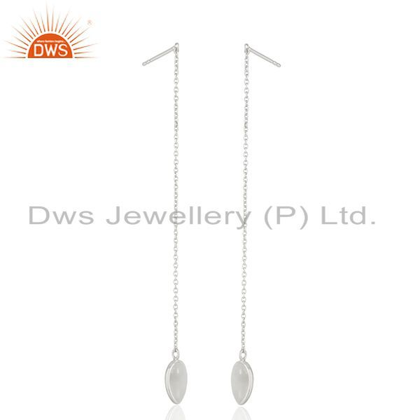 Suppliers Gray Moonstone Fine Sterling Silver Chain Dangle Earrings Manufacturer India