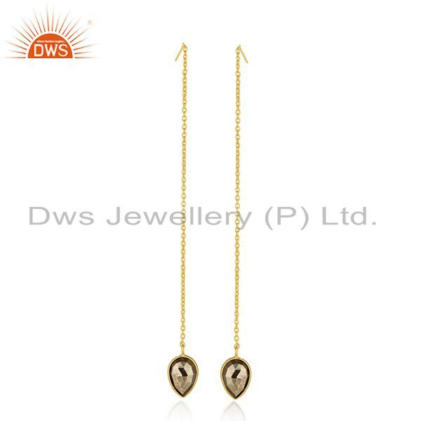 Suppliers Pyrite Gemstone 925 Silver Gold Plated Chain Earrings Jewelry Manufacturer