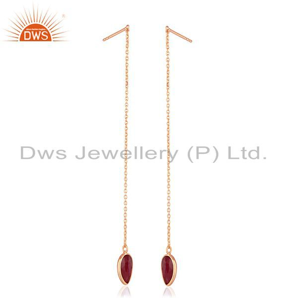 Suppliers Corundum Ruby Gemstone Rose Gold Plated 925 Silver Earrings Wholesale India