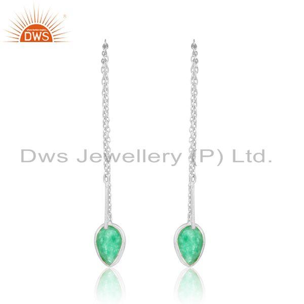 Designer of Designer dainty chain dangle in silver 925 with green avanturine