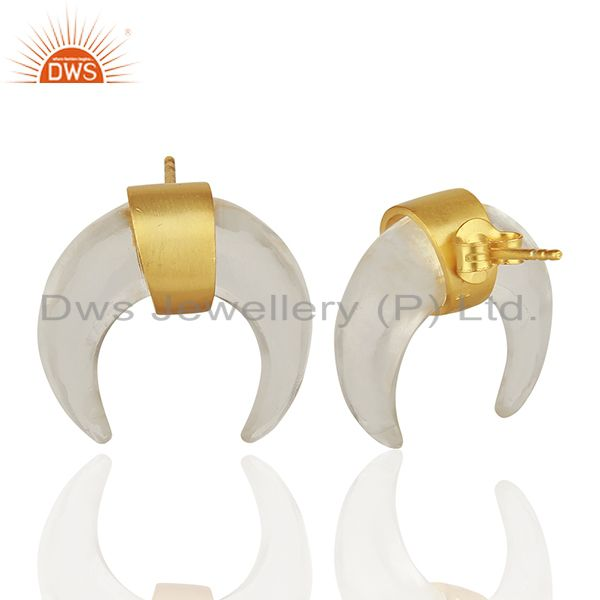 Suppliers Crystal Quartz Crescent Moon 925 Sterling Silver 18k Gold Plated Studs Earring