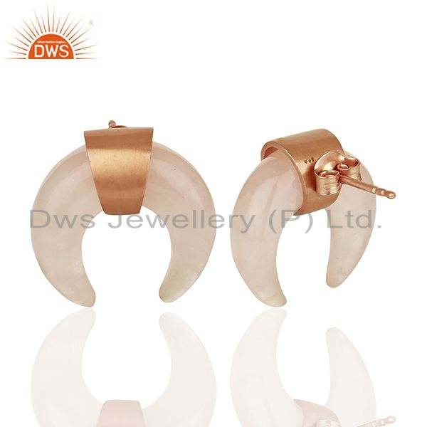 Suppliers Rose Quartz Crescent Moon 925 Sterling Silver Rose Gold Plated Studs Earring