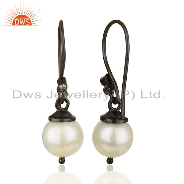 Suppliers Round White Pearl Black 925 Sterling Silver Drop Earrings Wholesale