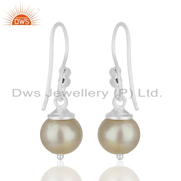 Suppliers White Topaz and Pearl Gemstone 925 Silver Drop Earrings Manufacturer