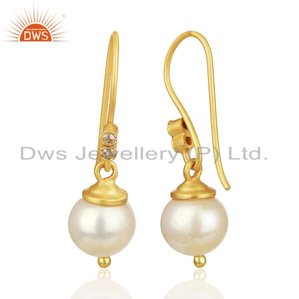 Suppliers Natural Pearl Gemstone 925 Silver Gold Plated Girls Drop Earrings